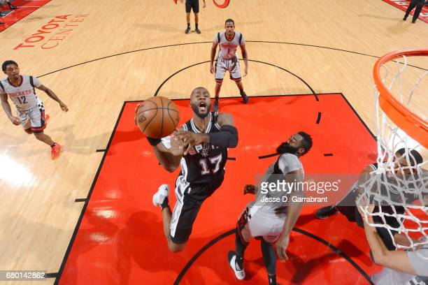Jonathon Simmons of the San Antonio Spurs goes for a lay up during the game against the Houston Rockets during Game Four of the Western Conference...