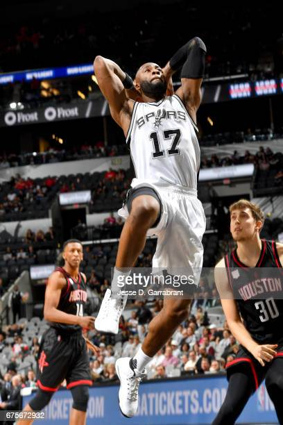 Jonathon Simmons of the San Antonio Spurs goes to the basket against the Houston Rockets during Game One of the Western Conference Semifinals of the...