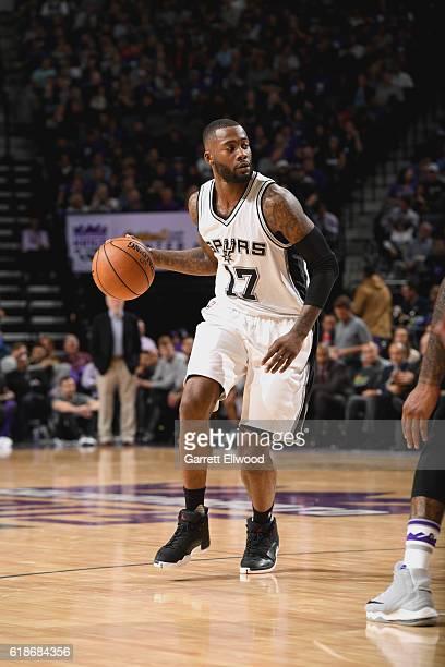 Jonathon Simmons of the San Antonio Spurs handles the ball against the Sacramento Kings on October 27 2016 at the Golden 1 Center in Sacramento...