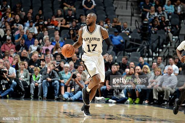 Jonathon Simmons of the San Antonio Spurs handles the ball during the game against the Orlando Magic on November 29 2016 at the ATT Center in San...