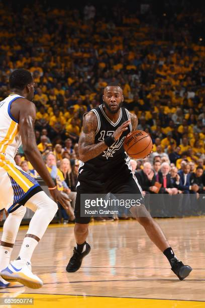 Jonathon Simmons of the San Antonio Spurs handles the ball during the game against the Golden State Warriors during Game Two of the Western...