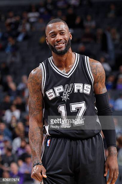 Jonathon Simmons of the San Antonio Spurs looks on during the game against the Sacramento Kings on November 16 2016 at Golden 1 Center in Sacramento...