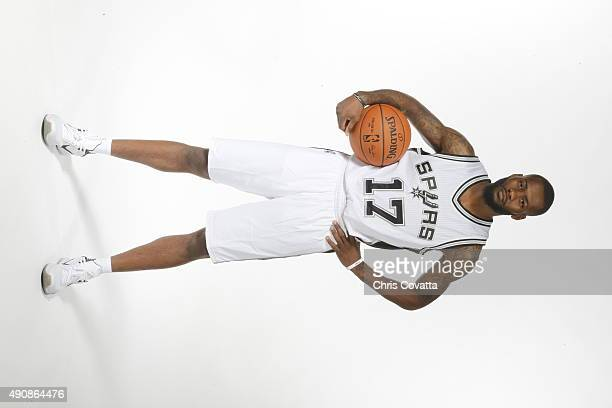 Jonathon Simmons of the San Antonio Spurs poses for a portrait during media day at the Spurs Training Facility on September 28 2015 in San Antonio...