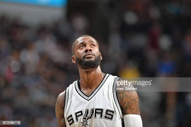 Jonathon Simmons of the San Antonio Spurs reacts to a play against the Houston Rockets during the game on November 9 2016 at the ATT Center in San...
