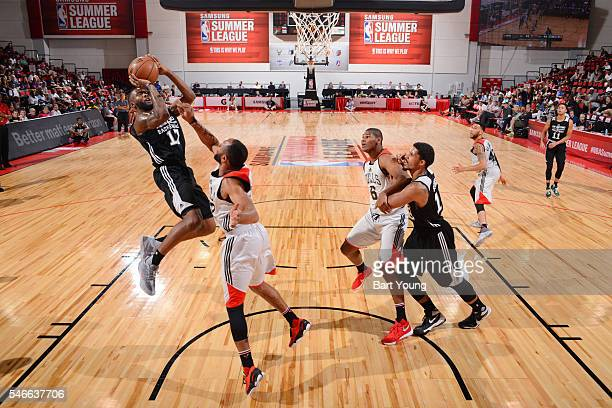 Jonathon Simmons of the San Antonio Spurs shoots the ball against the Chicago Bulls during the 2016 NBA Las Vegas Summer League game on July 12 2016...