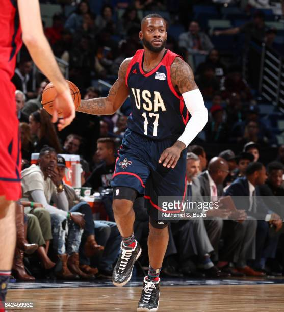 Jonathon Simmons of the USA Team dribbles the ball during the BBVA Compass Rising Stars Challenge as part of 2017 AllStar Weekend at the Smoothie...