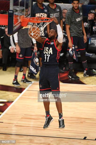Jonathon Simmons of the USA Team dunks the ball during the BBVA Compass Rising Stars Challenge as part of 2017 AllStar Weekend at the Smoothie King...