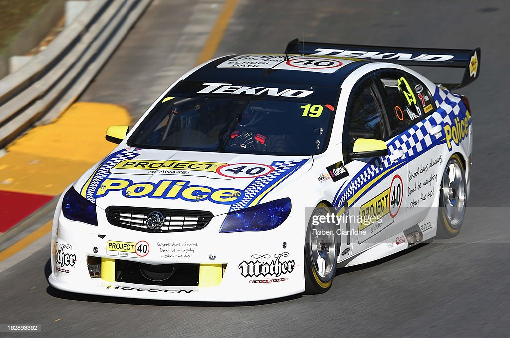 Jonathon Webb drives the #19 Tekno Autosports Holden during practice for the Clipsal 500, which is round one of the V8 Supercar Championship Series, at the Adelaide Street Circuit on March 1, 2013 in Adelaide, Australia.