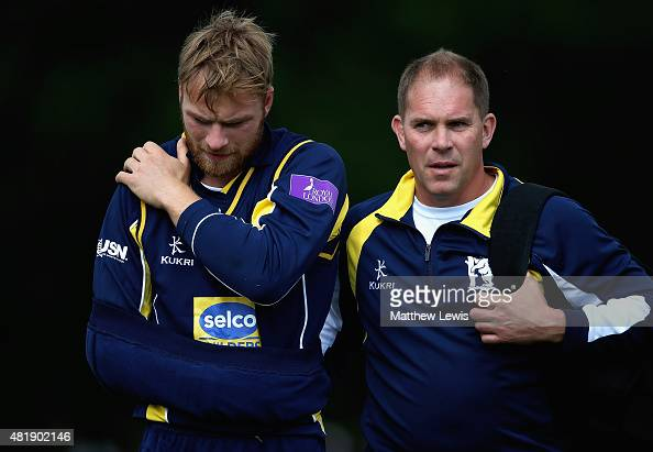 Jonathon Webb of Warwickshire is helped off the field after injuring his shoulder during the Royal London OneDay Cup match between Nottinghamshire...