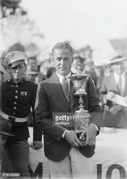 Jones defeats Homans and wins National Amateur Title This photo shows Bobby Jones with the trophy at Merion Cricket Club Ardmore Pennsylvania...