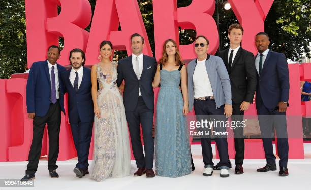 Jones Edgar Wright Eiza Gonzalez Jon Hamm Lily James Kevin Spacey Ansel Elgort and Jamie Foxx attend the European Premiere of 'Baby Driver' at...