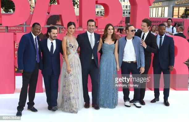 Jones Edgar Wright Eiza Gonzalez Jon Hamm Lily James Kevin Spacey Ansel Elgort and Jamie Foxx attend the European premiere of 'Baby Driver' on June...