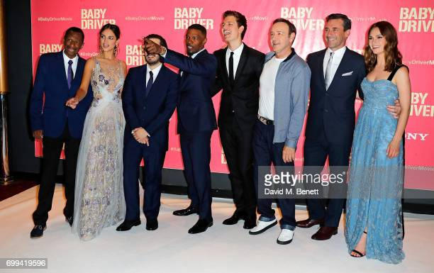 CJ Jones Eiza Gonzalez Edgar Wright Jamie Foxx Ansel Elgort Kevin Spacey Jon Hamm and Lily James attends the European Premiere of 'Baby Driver' at...
