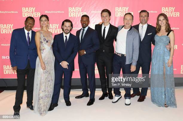 CJ Jones Eiza Gonzalez Edgar Wright Jamie Foxx Ansel Engort Kevin Spacey Jon Hamm and Lily James attend the European Premiere of Sony Pictures 'Baby...