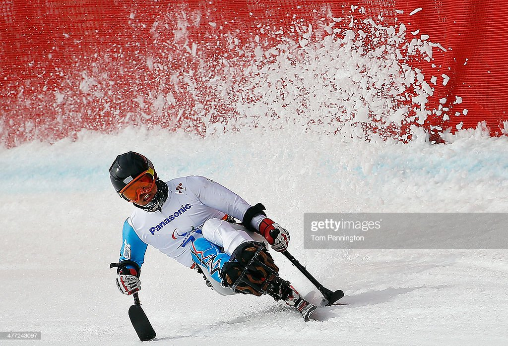 Jong Seork Park of South Korea competes in Mens Downhill Sitting during day one of Sochi 2014 Paralympic Winter Games at Rosa Khutor Alpine Center on...