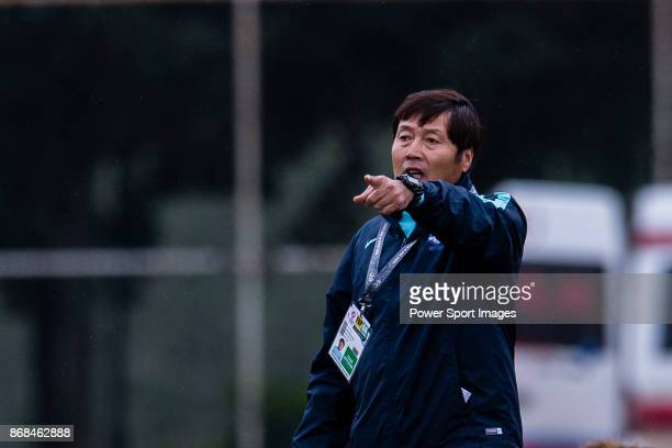 Jong Song Chon Head Coach of South Korea during their AFC U19 Women's Championship 2017 Group Stage B match between South Korea and Australia at...