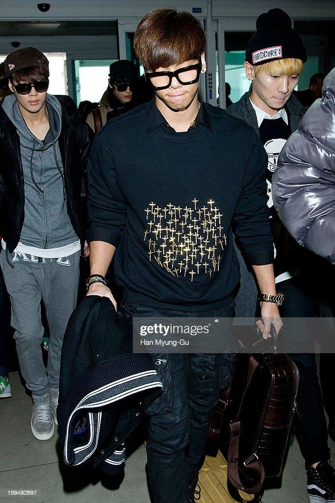 Jonghyun of South Korean boy band SHINee is seen at Incheon International Airport on January 13, 2013 in Incheon, South Korea.