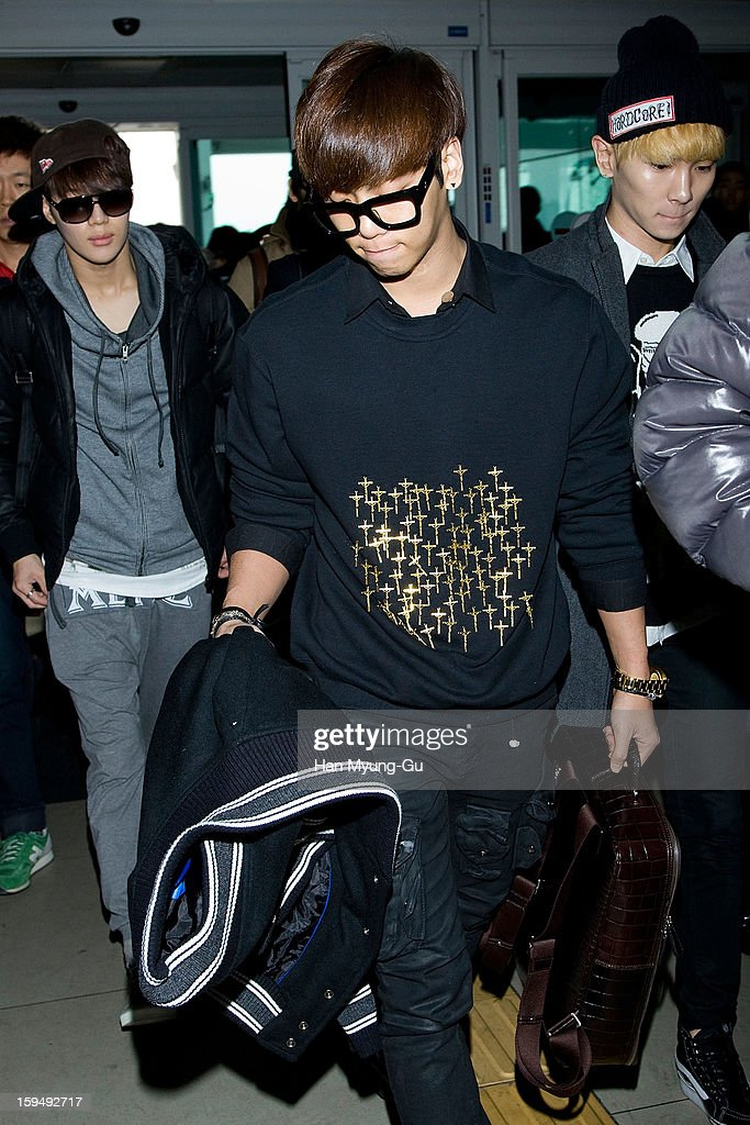 Jonghyun of South Korean boy band SHINee is seen at Incheon International Airport on January 13, 2013 in Incheon, South Korea.
