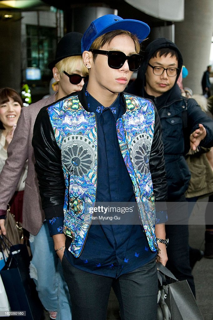 Jonghyun of South Korean boy band SHINee is seen upon arrival at Incheon International Airport on February 18, 2013 in Incheon, South Korea.