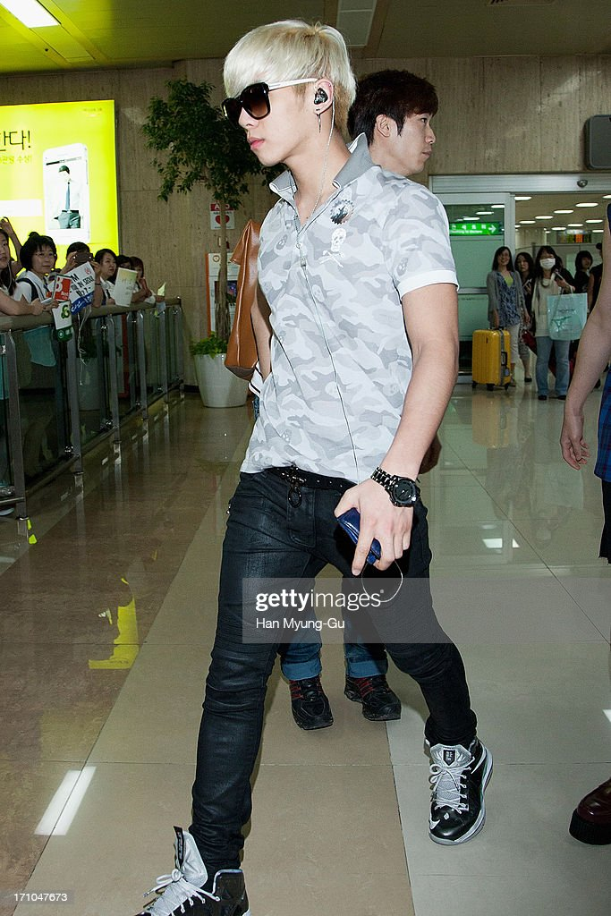 Jonghyun of South Korean boy band SHINee is seen upon arrival at Gimpo International Airport on June 21, 2013 in Seoul, South Korea.