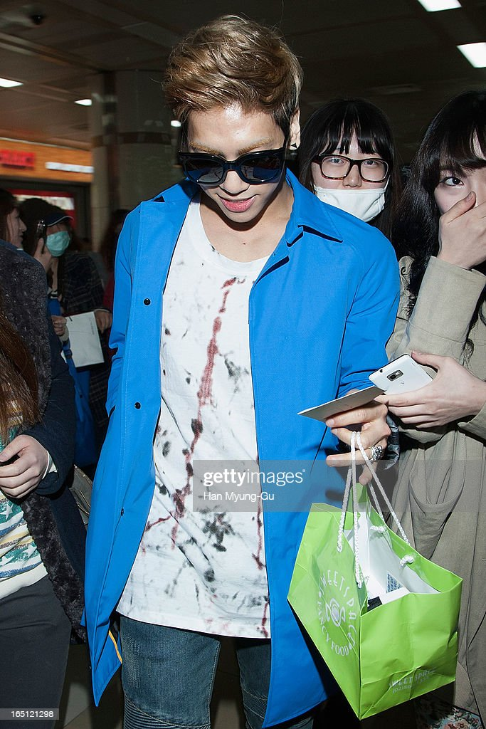 Jonghyun of South Korean boy band SHINee is seen upon arrival from Japan at Gimpo International Airport on March 30, 2013 in Seoul, South Korea.