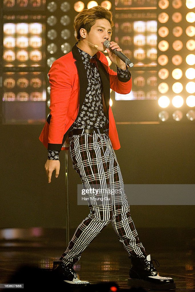 Jonghyun of South Korean boy band SHINee performs onstage during the MBC Music 'Show Champion' at Uniqlo-AX Hall on March 13, 2013 in Seoul, South Korea.
