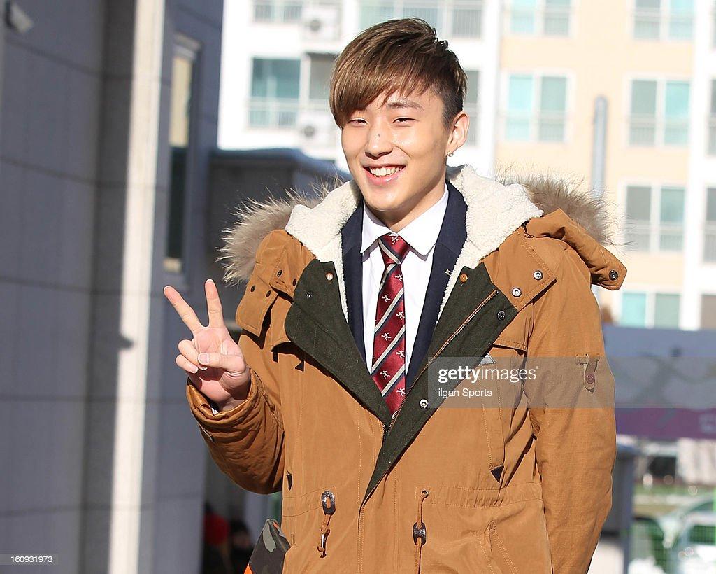 Jong-Up of B.A.P poses during Hanlim Multi Art School Graduation on February 7, 2013 in Seoul, South Korea.
