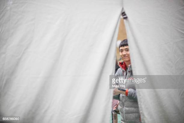 Jongwon Chon of South Korea waits in isolation room during finals of bouldering event Studio Bloc Masters 2017 on March 26 2017 in Pfungstadt Germany