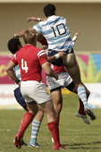 Jonh Moonlight of Canada competes against Javier Ortega of Argentina during the Final Men's Rugby between Canada and Argentina during the XVI Pan...