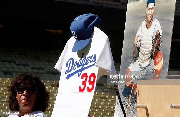 Joni Campanella Roan the daughter of late Brooklyn Dodgers great Roy Campanella joins a press conference in Dodger Stadium on Thursday Sept 23 to...