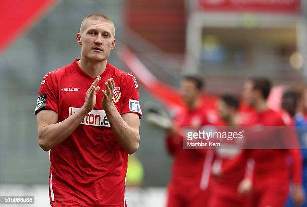 Joni Kauko of Cottbus shows his delight after winning the third league match between FC Energie Cottbus and 1FC Magdeburg at Stadion der Freundschaft...
