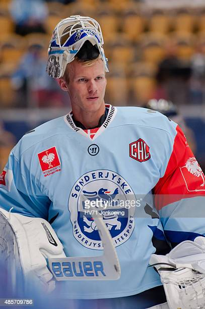 Joni Myllykoski Goaltender of Sonderjyske without helmet during the Champions Hockey League group stage game between HV71 Jonkoping and SonderjyskE...
