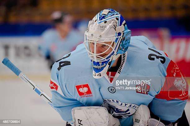 Joni Myllykoski of Sonderjyske during the Champions Hockey League group stage game between HV71 Jonkoping and SonderjyskE Vojens on August 29 2015 in...
