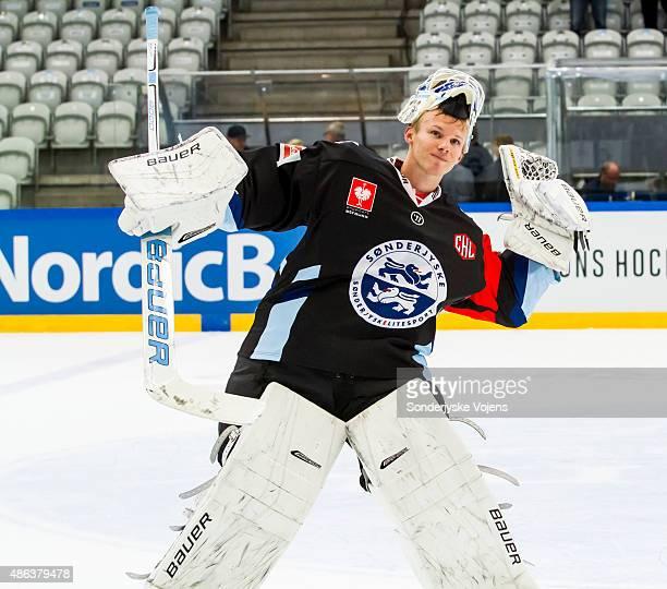 Joni Myllykoski of Vojens acknowledges the fans after the Champions Hockey League group stage game between SonderjyskE Vojens and HV71 Jonkoping on...