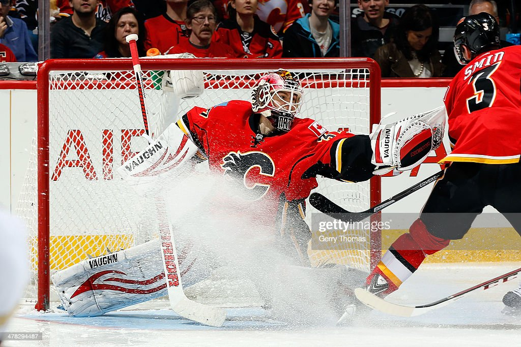 <a gi-track='captionPersonalityLinkClicked' href=/galleries/search?phrase=Joni+Ortio&family=editorial&specificpeople=4779725 ng-click='$event.stopPropagation()'>Joni Ortio</a> #37 of the Calgary Flames makes a save against the Anaheim Ducks at Scotiabank Saddledome on March 12, 2014 in Calgary, Alberta, Canada.