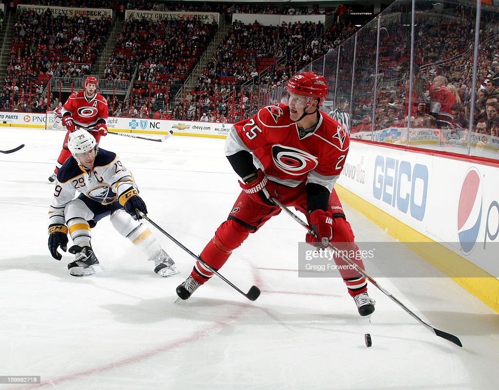Joni Pitkanen #25 of the Carolina Hurricanes looks to make a pass as he skates the puck into the corner boards as Jason Pominville #29 of the Buffalo Sabres sweeps for the puck during their NHL game at PNC Arena on January 24, 2013.