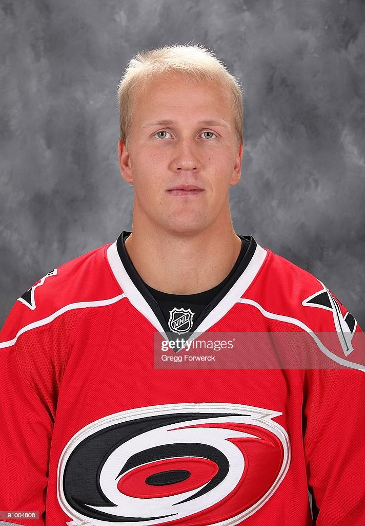Joni Pitkanen of the Carolina Hurricanes poses for his official headshot for the 2009-2010 NHL season.