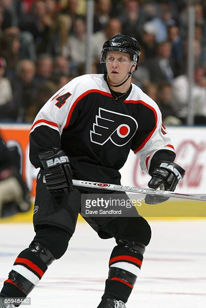 Joni Pitkanen of the Philadelphia Flyers skates during their NHL season game against the Toronto Maple Leafs at the Air Canada Centre October 11 2005...