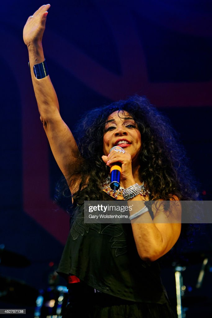 Joni Sledge of Sister Sledge performs on stage at Tramlines Festival at Devonshire Green on July 26, 2014 in Sheffield, United Kingdom.