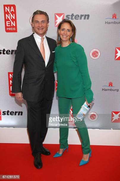 Jonica Jahr and her husband Jan Peter Goedhart during the Henri Nannen Award red carpet arrivals on April 27 2017 in Hamburg Germany
