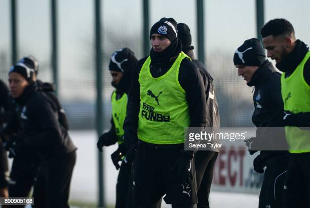 Jonjo Shelvey during the Newcastle United training session at the Newcastle United Training Centre on December 12 in Newcastle upon Tyne England