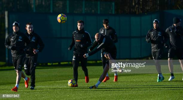 Jonjo Shelvey kicks the ball whilst warming up during the Newcastle United Training Session at the Newcastle United Training Centre on November 24 in...