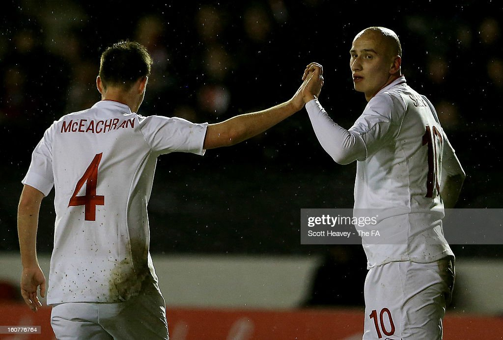 Jonjo Shelvey of England celebrates scoring their second goal during the International Match between England Under 21's and Sweden Under 21's at Banks' Stadium on February 5, 2013 in Walsall, England.