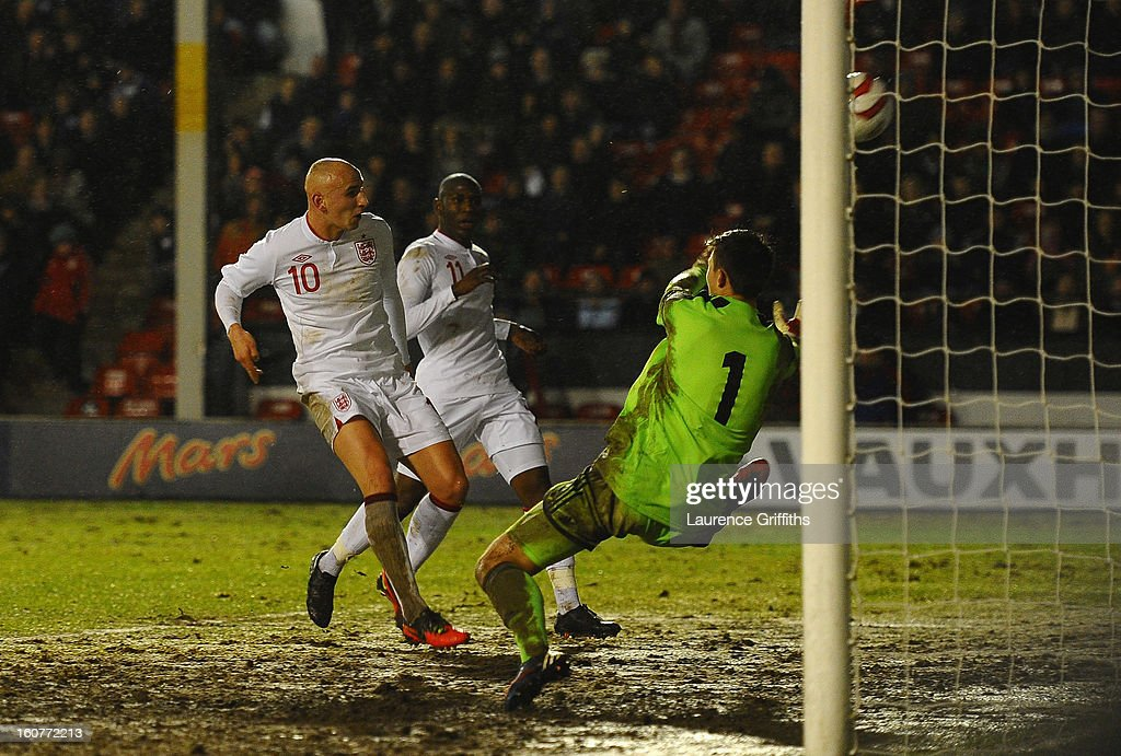 Jonjo Shelvey of England scores the second goal during the U-21 International match between England U-21 and Sweden U-21 at Banks' Stadium on February 5, 2013 in Walsall, England.