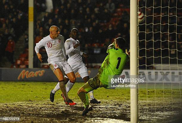 Jonjo Shelvey of England scores the second goal during the U21 International match between England U21 and Sweden U21 at Banks' Stadium on February 5...