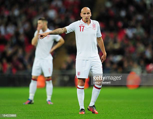 Jonjo Shelvey of England signals during the FIFA 2014 World Cup Group H qualifying match between England and San Marino at Wembley Stadium on October...