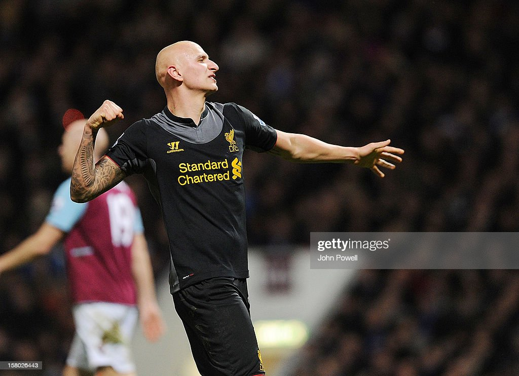 <a gi-track='captionPersonalityLinkClicked' href=/galleries/search?phrase=Jonjo+Shelvey&family=editorial&specificpeople=4940315 ng-click='$event.stopPropagation()'>Jonjo Shelvey</a> of Liverpool celebrates after James Collins of West Ham scored an own goal during the Barclays Premier League match between West Ham United and Liverpool at Boleyn Ground on December 9, 2012 in London, England.