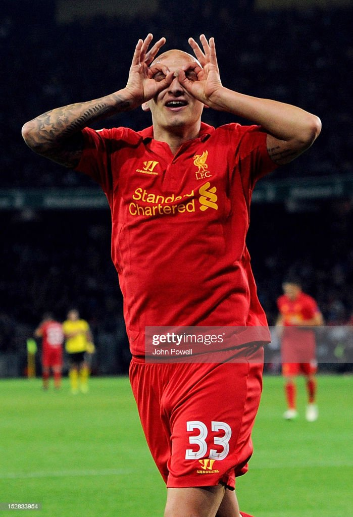 <a gi-track='captionPersonalityLinkClicked' href=/galleries/search?phrase=Jonjo+Shelvey&family=editorial&specificpeople=4940315 ng-click='$event.stopPropagation()'>Jonjo Shelvey</a> of Liverpool celebrates after scoring during the UEFA Europa League match between BSC Young Boys and Liverpool FC at Stade de Suisse, Wankdorf on September 20, 2012 in Bern, Switzerland.