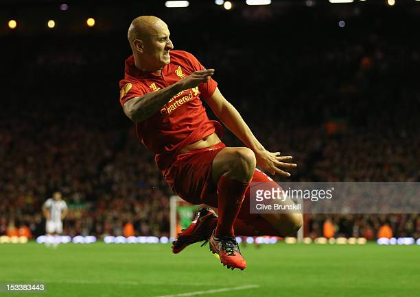 Jonjo Shelvey of Liverpool celebrates scoring the opening goal during the UEFA Europa League Group A match between Liverpool and Udinese at Anfield...