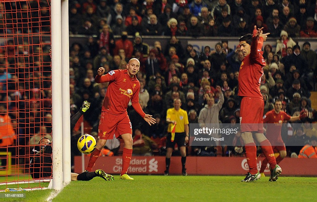 Jonjo Shelvey of Liverpool comes close during the Barclays Premier League match between Liverpool and West Bromwich Albion at Anfield on February 11, 2013 in Liverpool, England.